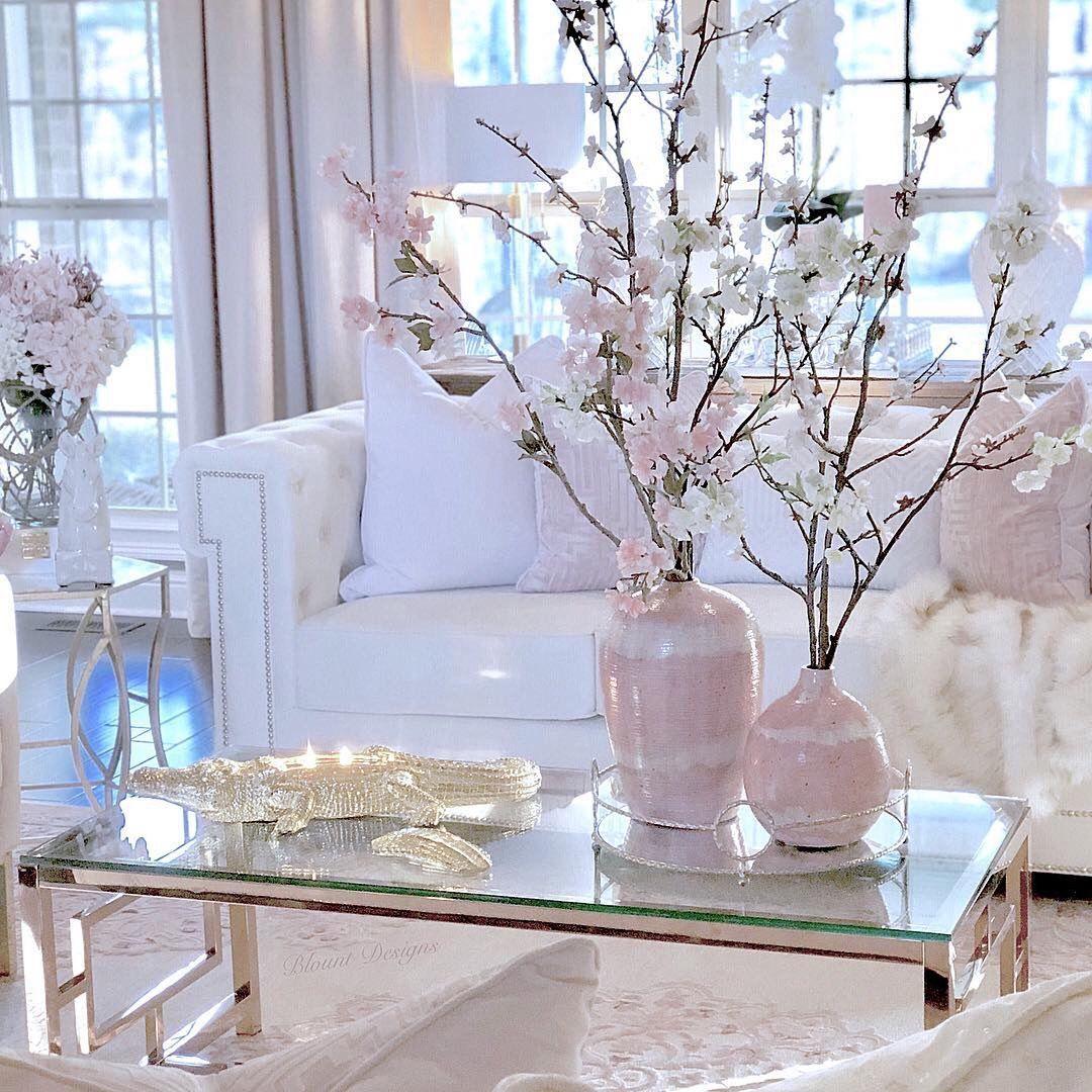Winter wonderland living room in pink. Decorative ...