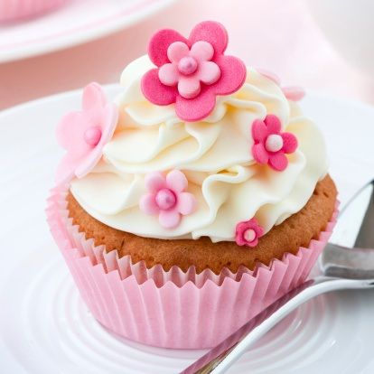 Cupcake with candy clay flowers