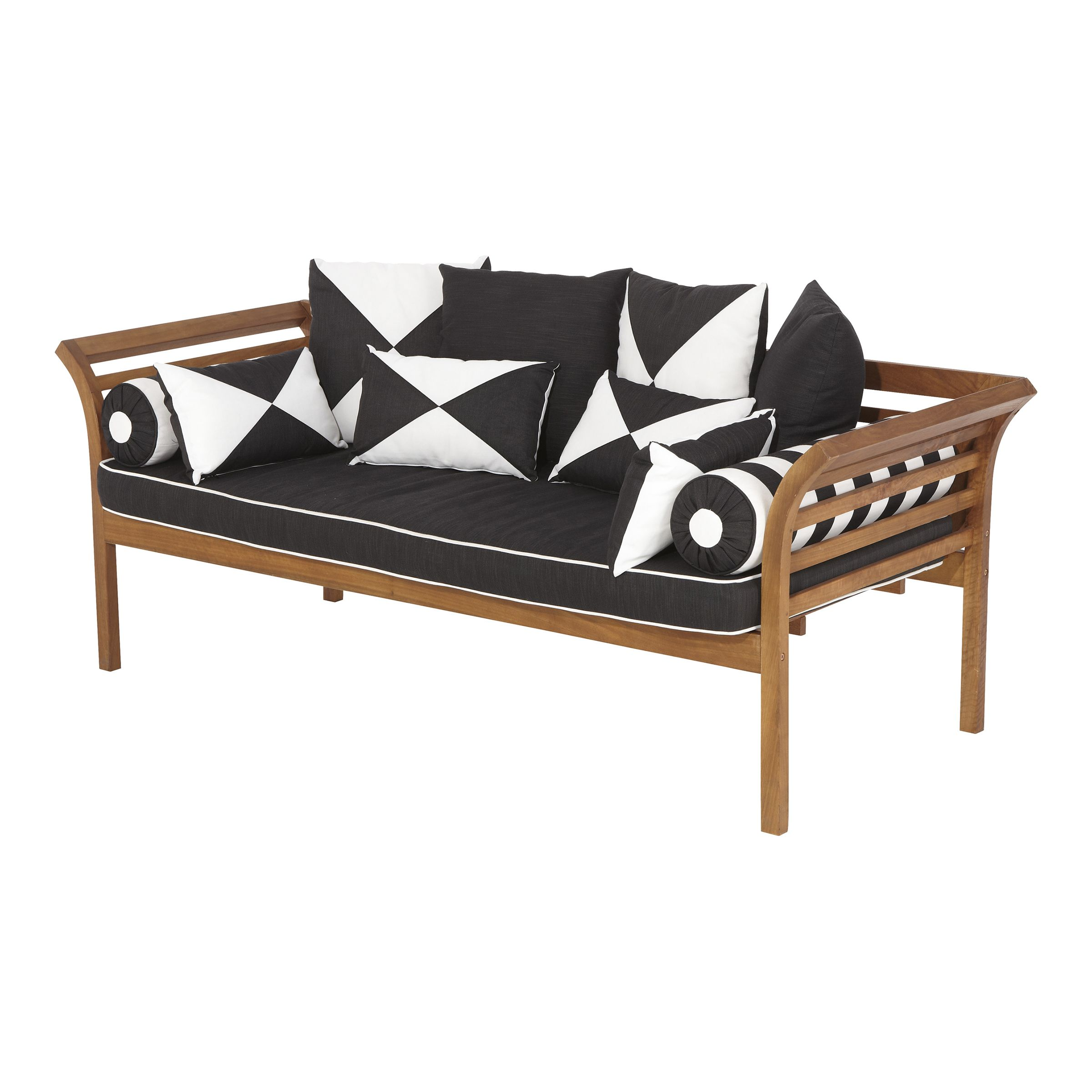 Mimosa Curved Timber Day Bed With Cushion Cushions