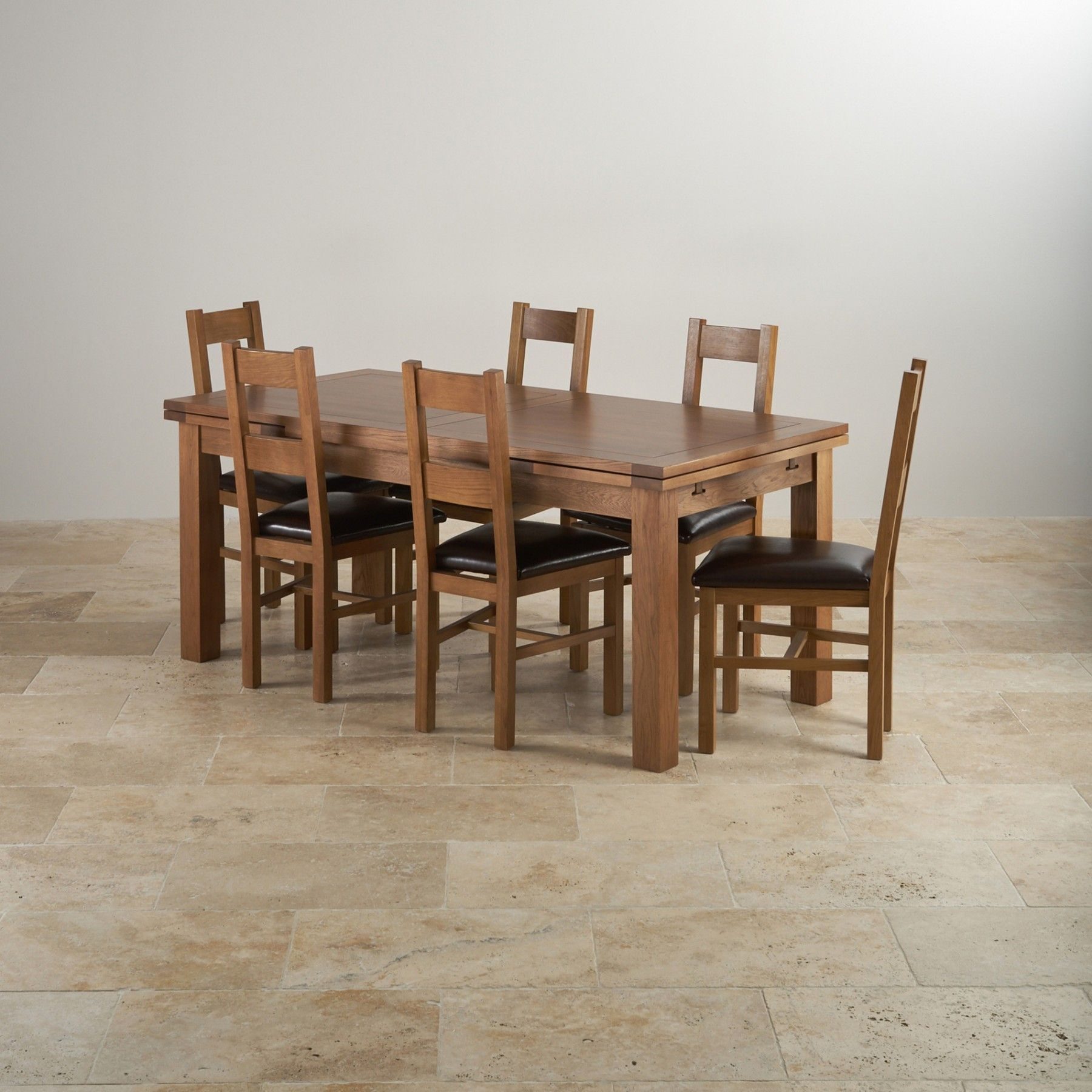 Rustic Solid Oak Dining Set 6ft Extending Table With 6 Farmhouse