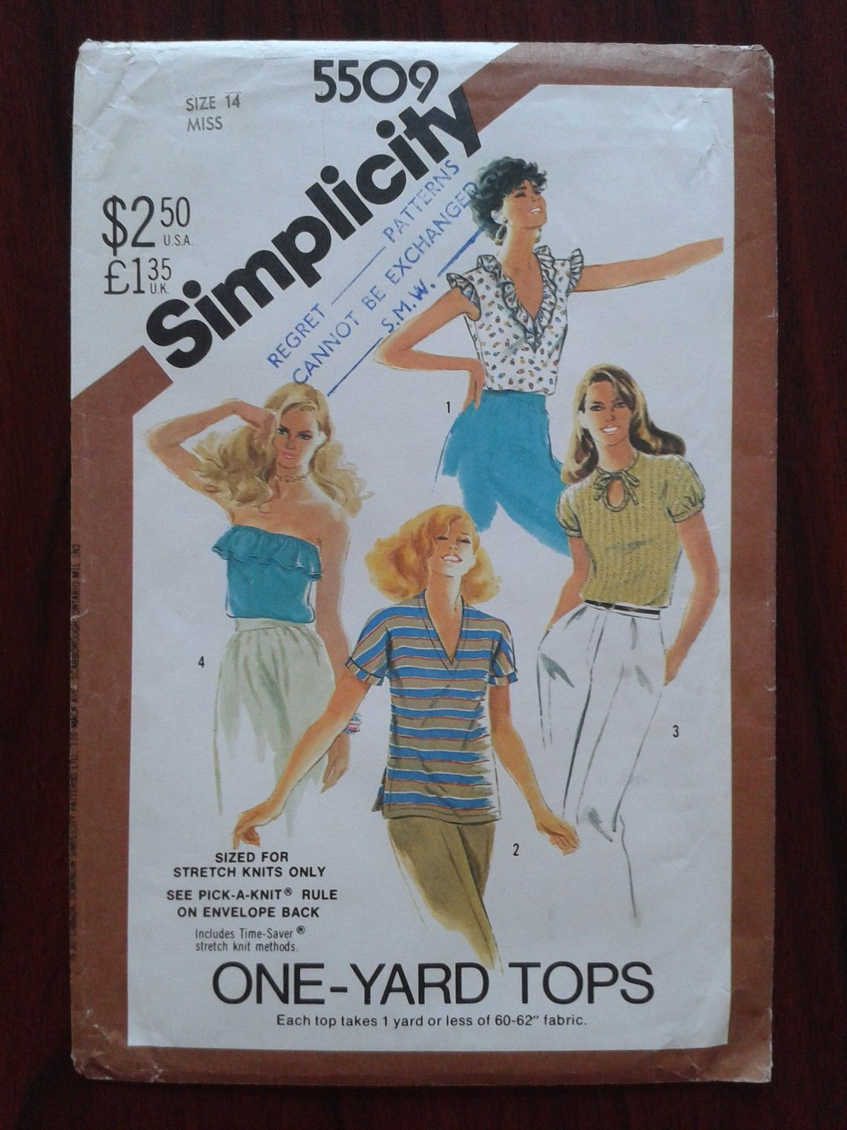 UNCUT Simplicity Dress Pattern 5509 ONE YARD TOPS 4 Assort Blouse 14 Sewing Bee | eBay