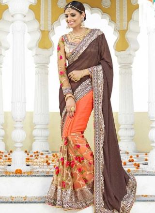 5f9eac5669 Grey Tomato Red Embroidery Work Georgette Net Silk Designer Half Fancy  Sarees http://