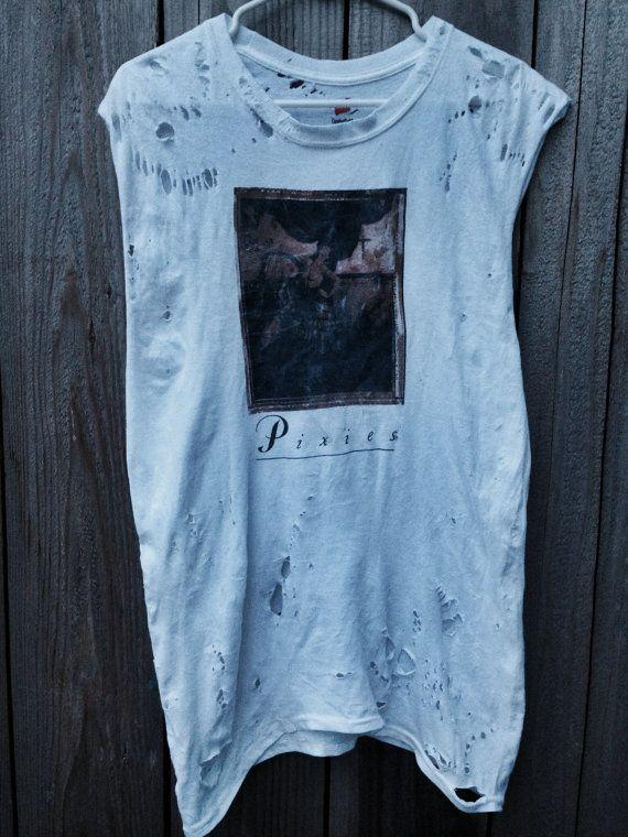 Custom Hand Distressed Rare Vintage Punk Alternative Band Etsy Pixie Shirt T Shirts For Women White Tees