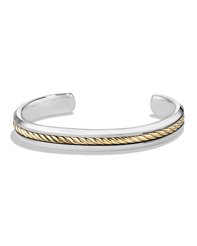 David Yurman Men S Cable Inset Cuff Bracelet Size M Silver Gold