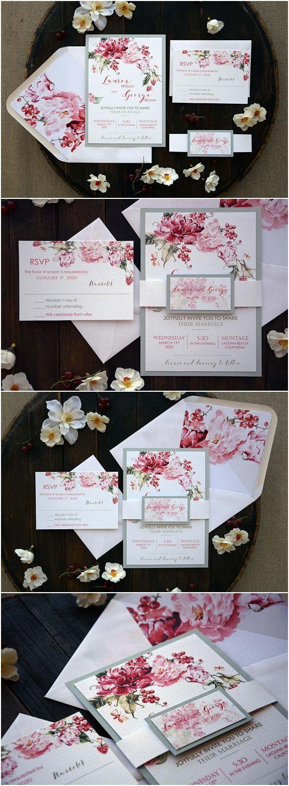 Custom modern floral wedding invitation best unique rose wedding