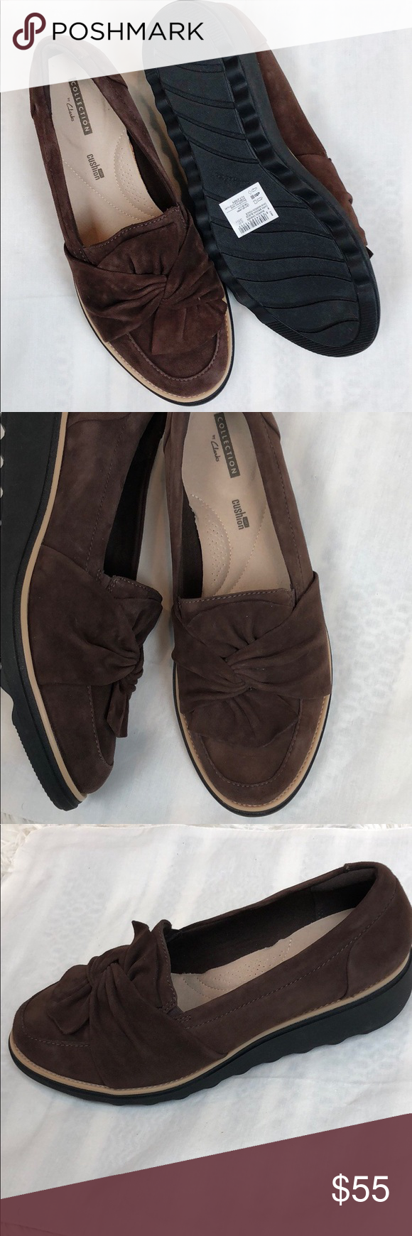 5a01cdbc765 Clark s Collection Sharon Dasher loafers NWOB Clark s dark brown suede  loafer. Knotted design on the toe top. Cushion insole. Black bottom Never  worn.