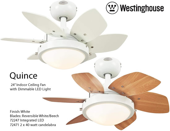Westinghouse Quince 24 Inch White Ceiling Fan With Reversible White Beech Blades And Light Small Ceiling Fans Deep Di Ceiling Fan Ceiling White Ceiling Fan 24 ceiling fan with light