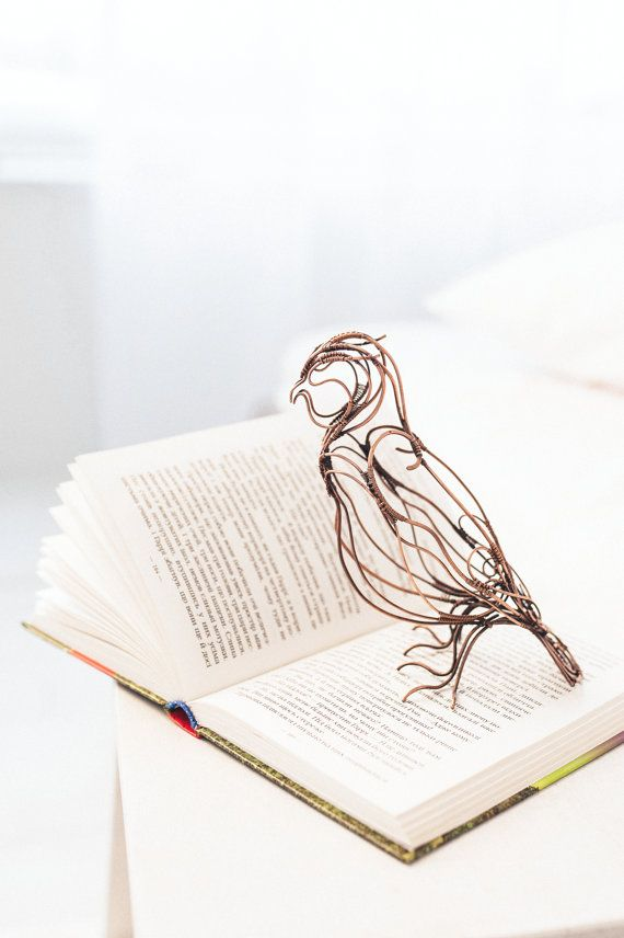 Copper Owl art figurine - Wire sculpture - Table decor - Gift for ...
