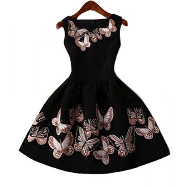 bd87bcc42303 Vintage Round Collar Sleeveless Butterflies Print Women s Ball Gown Dress