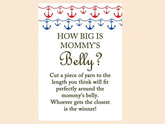Nautical Anchor Navy Blue /& Red How Big Is Mommys Belly Baby Shower Game