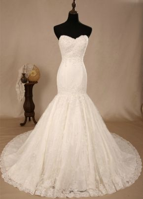 Strapless Ivory Sweep Train Wedding Dress