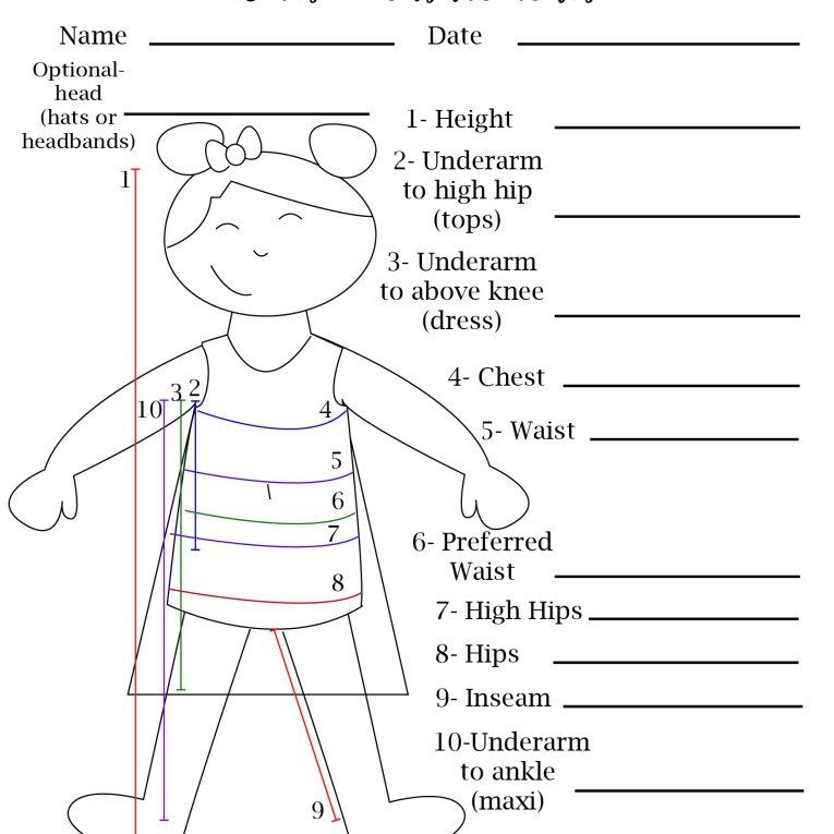Free Printable Blank Measurement Chart For Boys Amp Girls Sewing Measurements Sewing Patterns For Kids Made For Mermaids