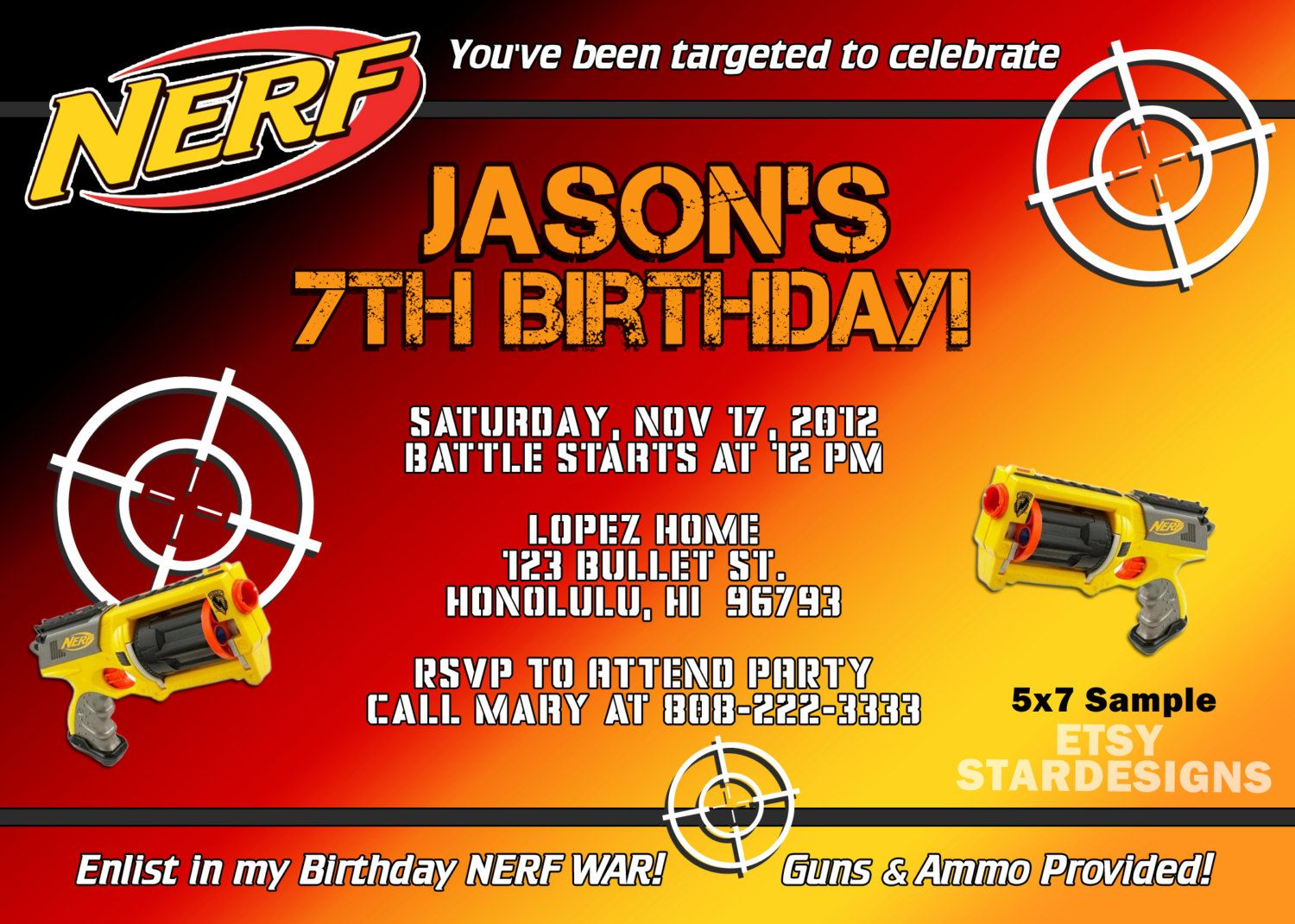 DIY Nerf Boy Party Invitation (self print) | Party ideas - Nerf wars ...