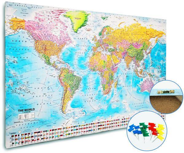 Push Pin World Map 2018, World Pushpin Map, World Pinboard Map