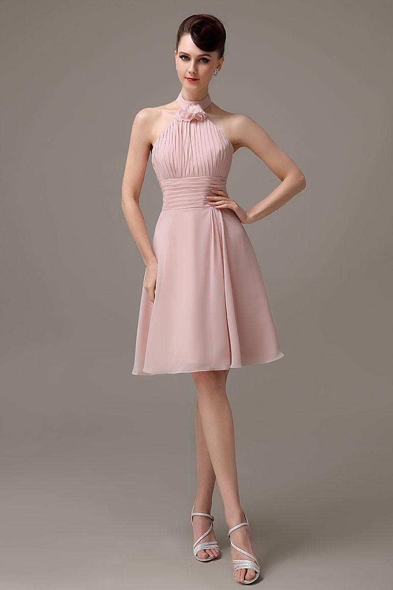Click to buy dusty pink halter chiffon short zipper up click to buy dusty pink halter chiffon short zipper up bridesmaid dress ombrellifo Gallery