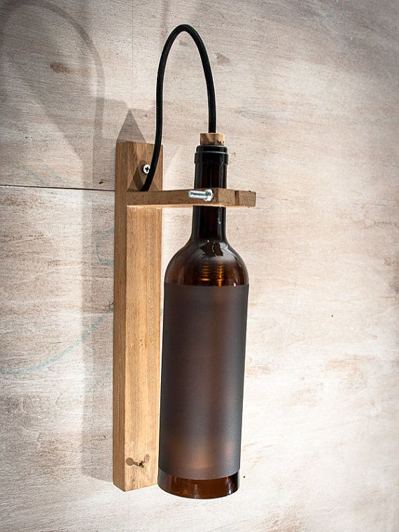 Recycled wine bottle wall sconce wood lamp customized lamp wall recycled wine bottle wall sconce wood lamp customized lamp wall light wood lamp shades pinterest botellas de vino recicladas marrn y lmparas de aloadofball Image collections