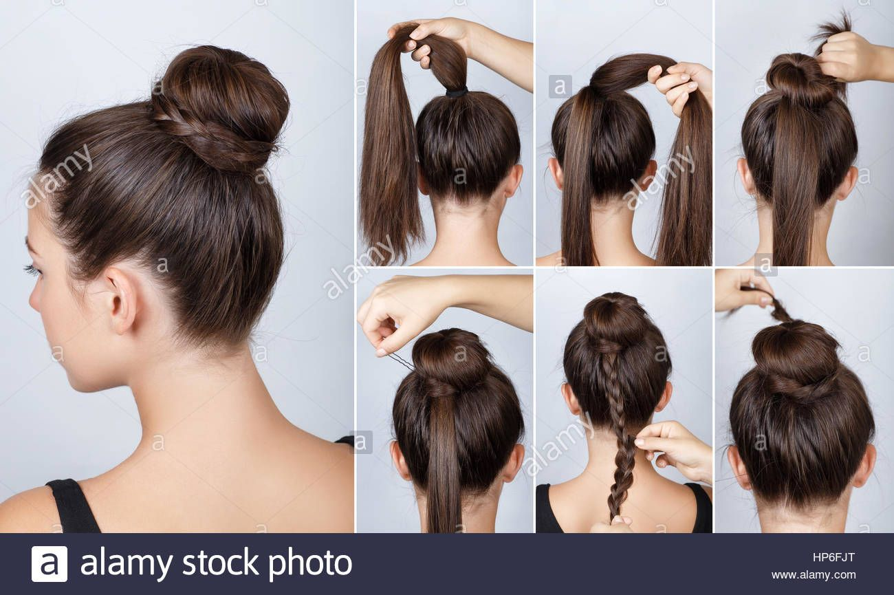 Download This Stock Image Hairstyle Tutorial Elegant Bun With Braid Simple Hairstyle Twisted Bun With Plait Hair Tutorial Pretty Hairstyles Easy Hairstyles