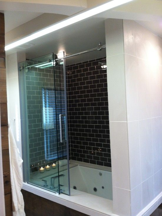 Over-sized Jet Tub Shower Combo. Great space saving idea. | Bathroom ...