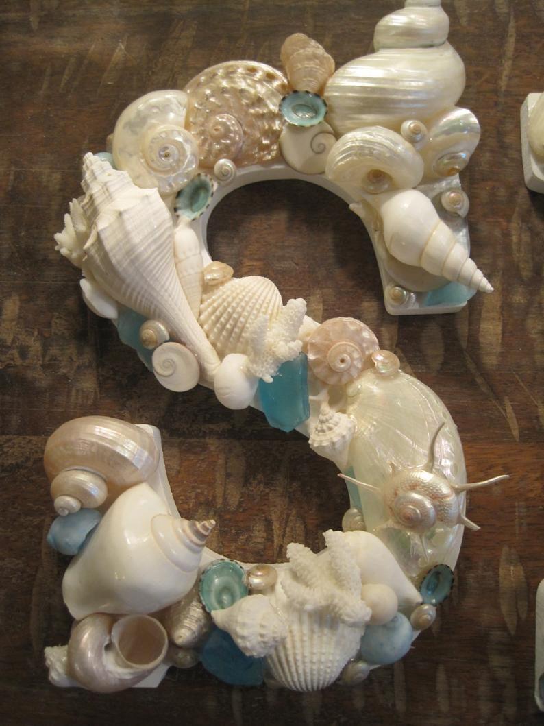 "Photo of Beach Decor Seashell letters- ""SEA""  in Exotic Tropical Seashells – Beach Wedding – Gift – Coastal Home Decor – Wooden Letters – Beach"