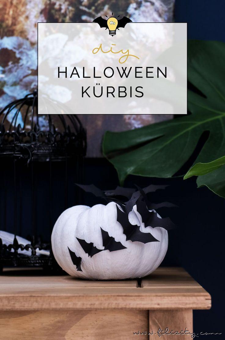 diy halloween-deko selber machen: kürbisse mit fledermäusen   diy