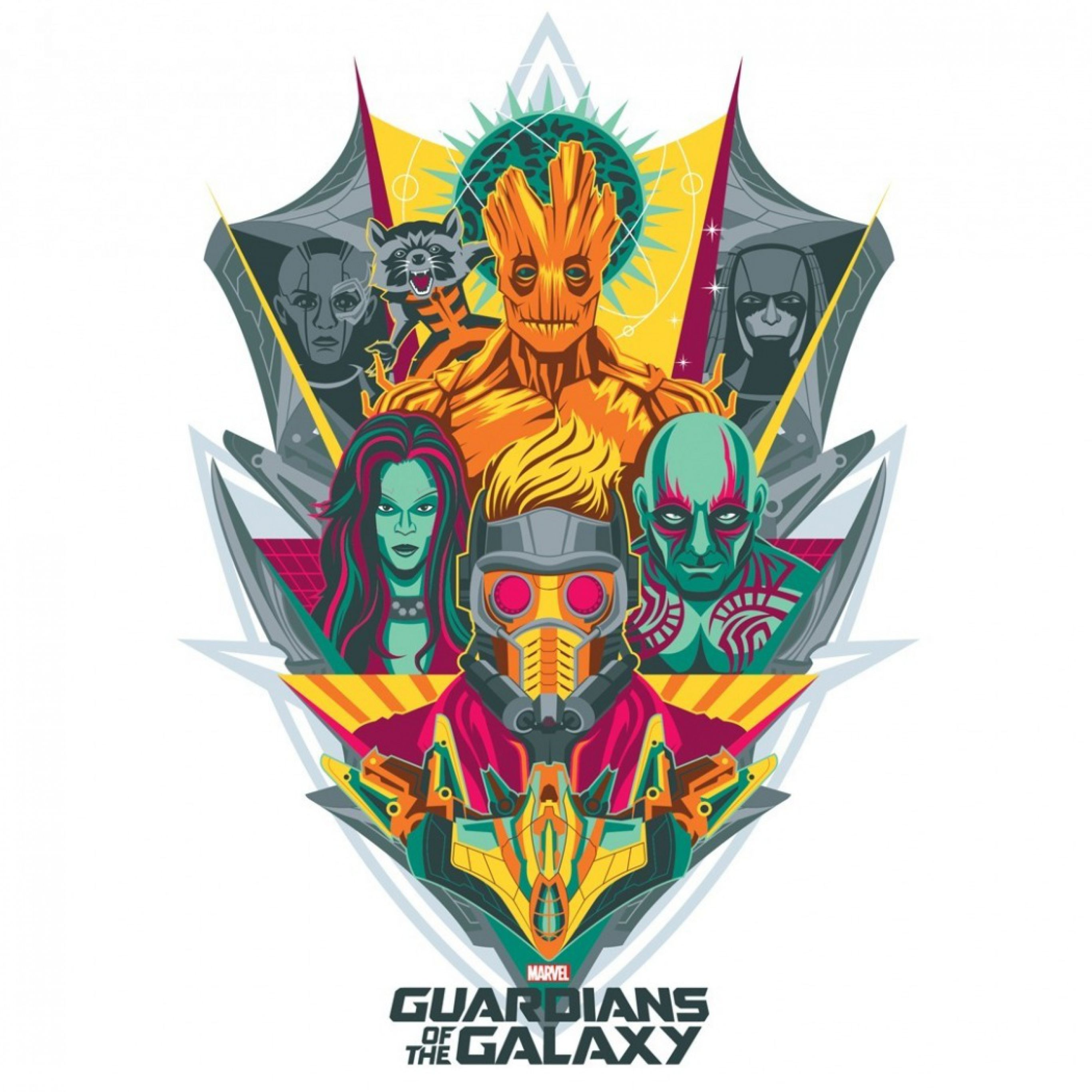 bb1a6ae33 2732x2732 Wallpaper guardians of the galaxy, logo, marvel, star-lord,  gamora, drax the destroyer, groot, rocket