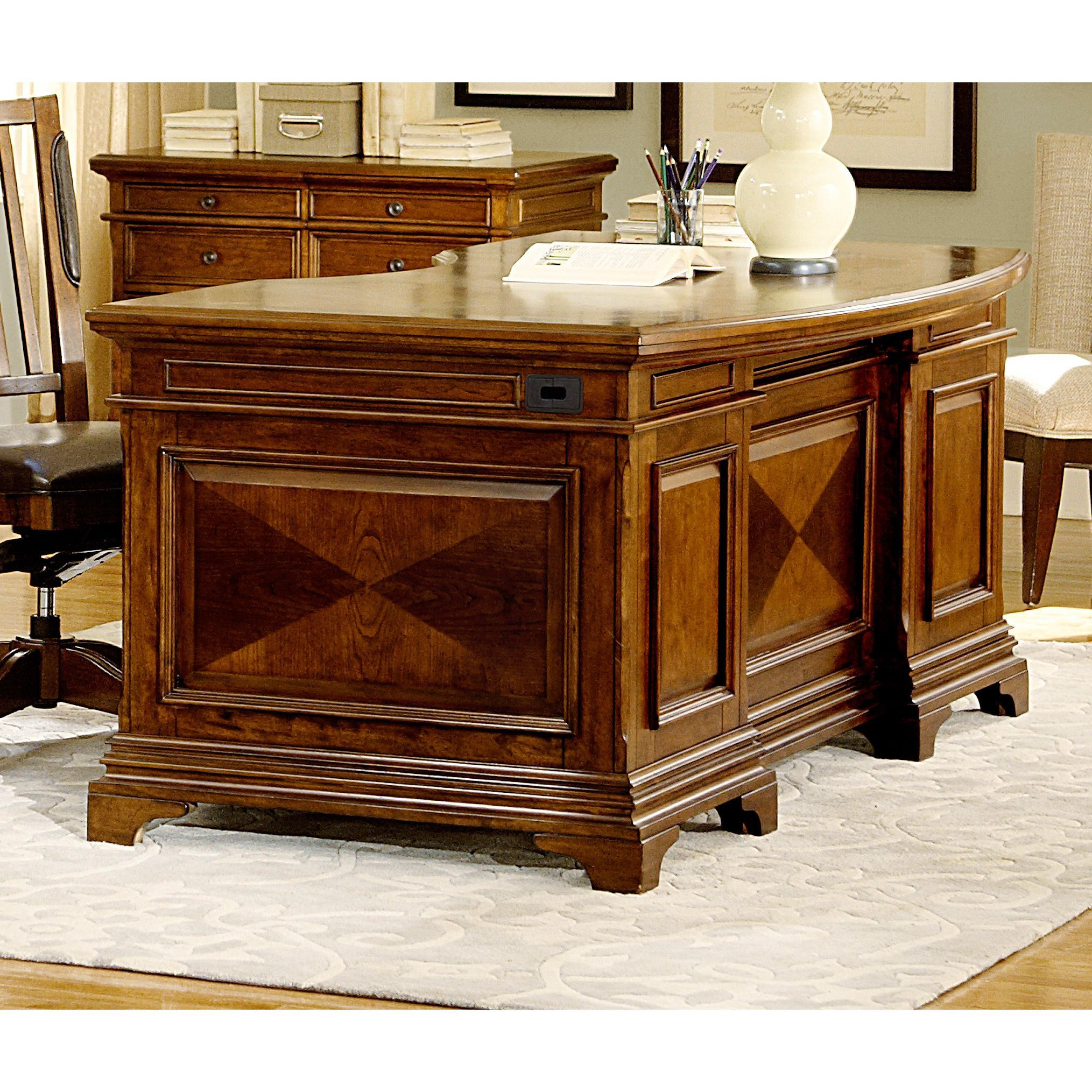 This Traditionally Styled Ethan Executive Desk Is An Ergonomic And Elegant Office Solution At 66 Inches The Curved Desktop Shape Provides Ample Worke