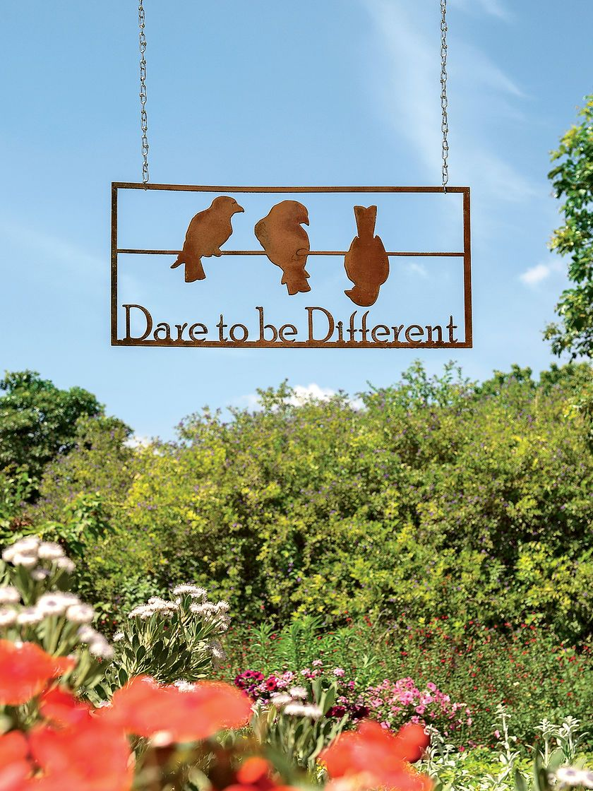 Metal wall art dare to be different sign gardeners wall art