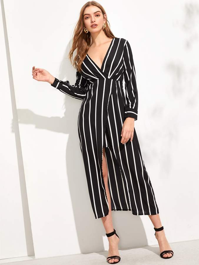 a14e106d2d SheinShein Striped Split Hem Wrap Dress | Products in 2019 | Striped ...