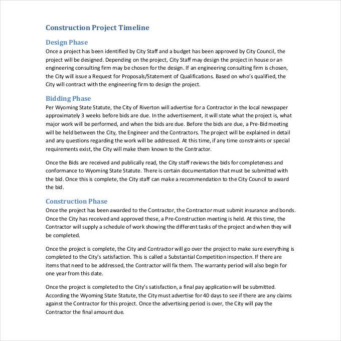 Project Timeline Templates 10+ Printable Word, Excel  PDF Formats - timeline spreadsheet template