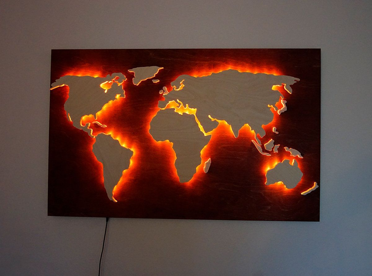 Rgb Led Glowing Wood World Map Colorful Remote Control Lights Map