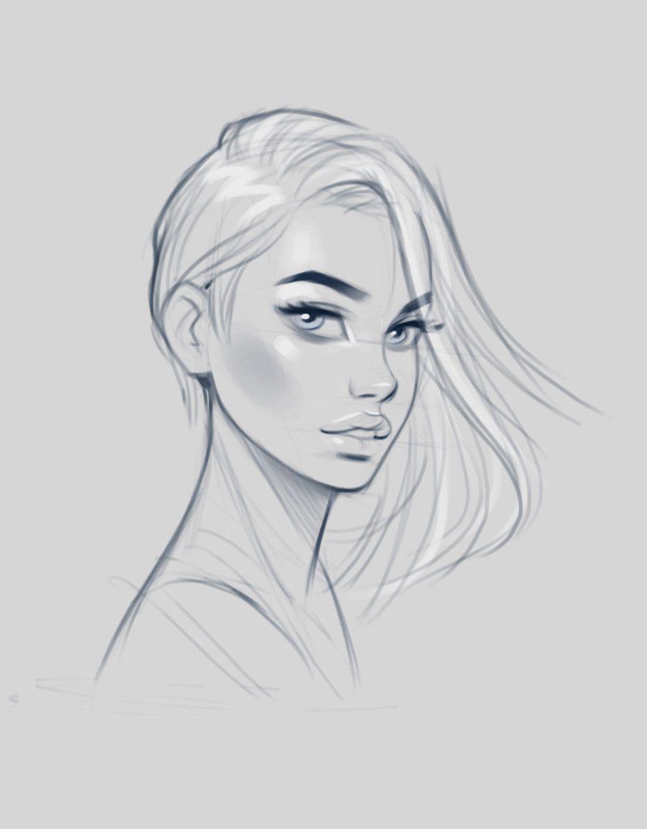 Artstation Female Faces Sketches Jan Unolt Female Face Drawing Face Sketch Girl Face Drawing