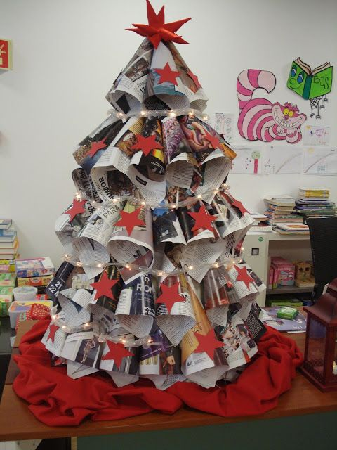 Christmas Tree Made Of Newspaper Library Arts Ad Crafts Unusual Christmas Trees Recycled Christmas Decorations Christmas Decorations Xmas Trees