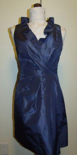 J-Crew-Dress-6P-Blue-Ruffled-Neck-Sheath-Cocktail-Wedding-Party-Dress