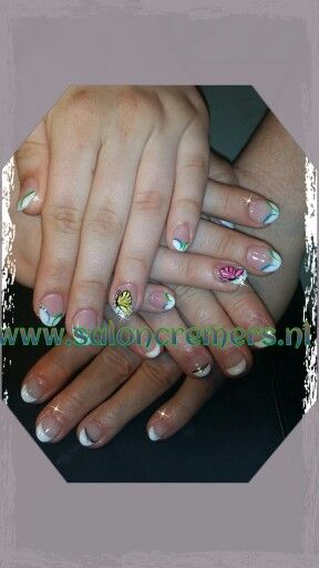 French manicure with little nail art