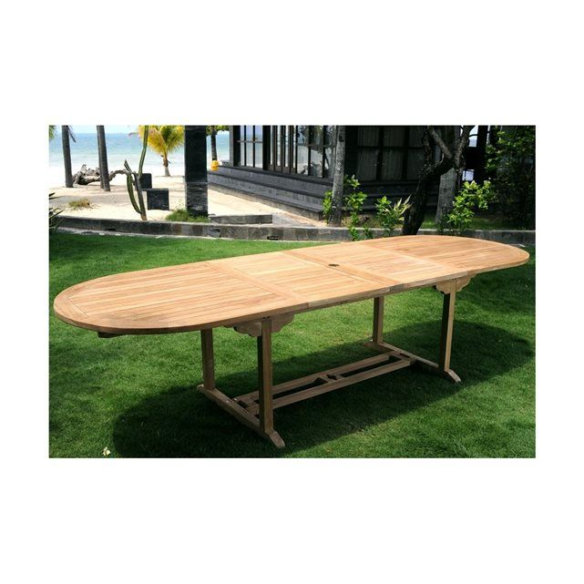Table de jardin en teck brut XXL 200-250-300 cm double rallonge ...