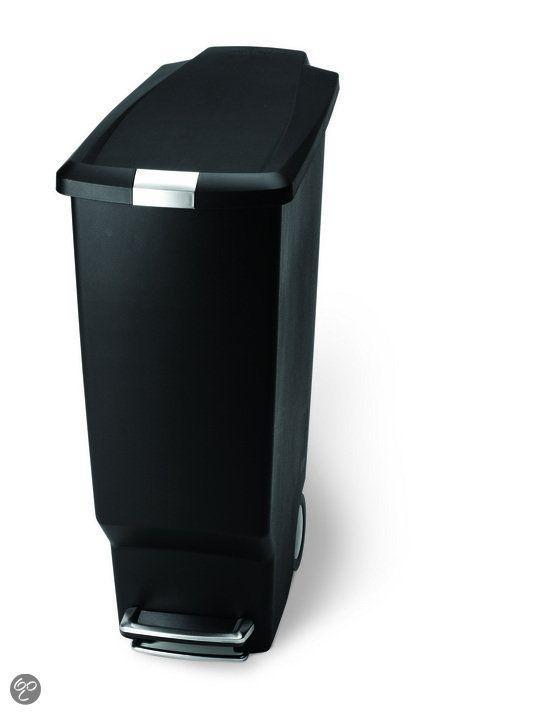 Zwart Rvs Prullenbak.Simplehuman Slimline Prullenbak 40 L Plastic Zwart Keuken