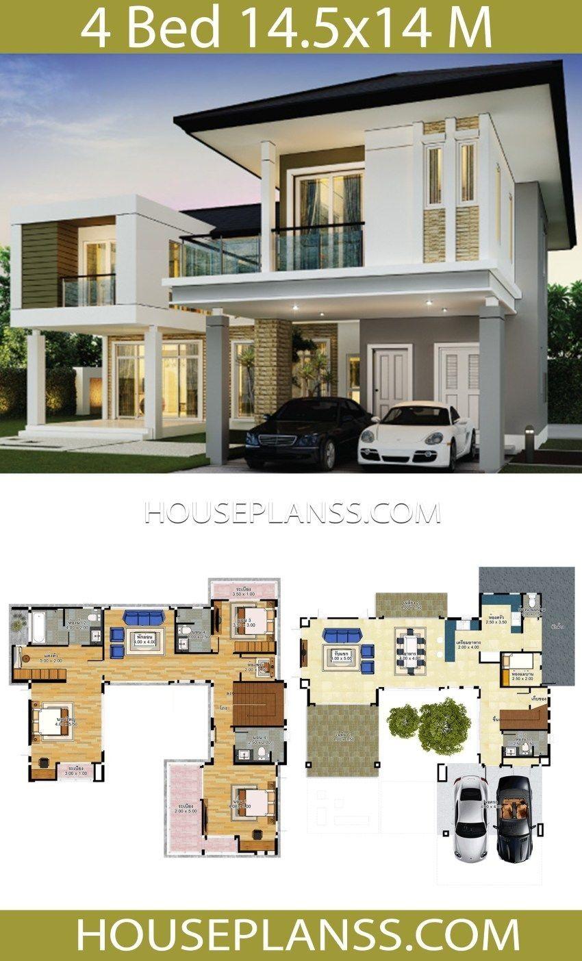Idea Di Design Casa 14 5x14 Con 4 Camere Da Letto Idea Di Design Casa 14 5x14 Con 4 Camere Da Letto Piani Casa Sam Arsitektur Rumah Indah Arsitektur Rumah