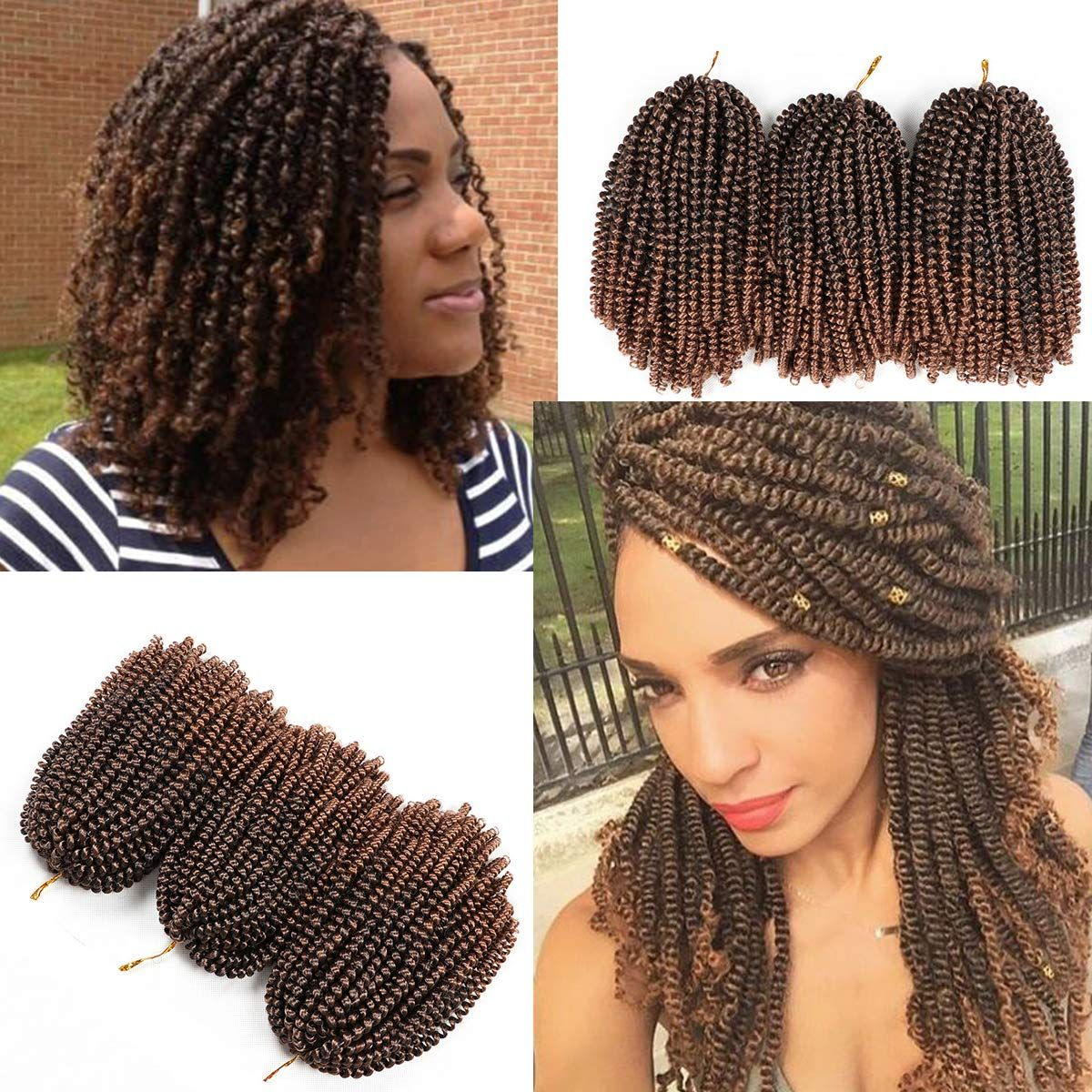 3 Pack Spring Twist Crochet Hair 8 Inch Short Ombre Crochet Braids