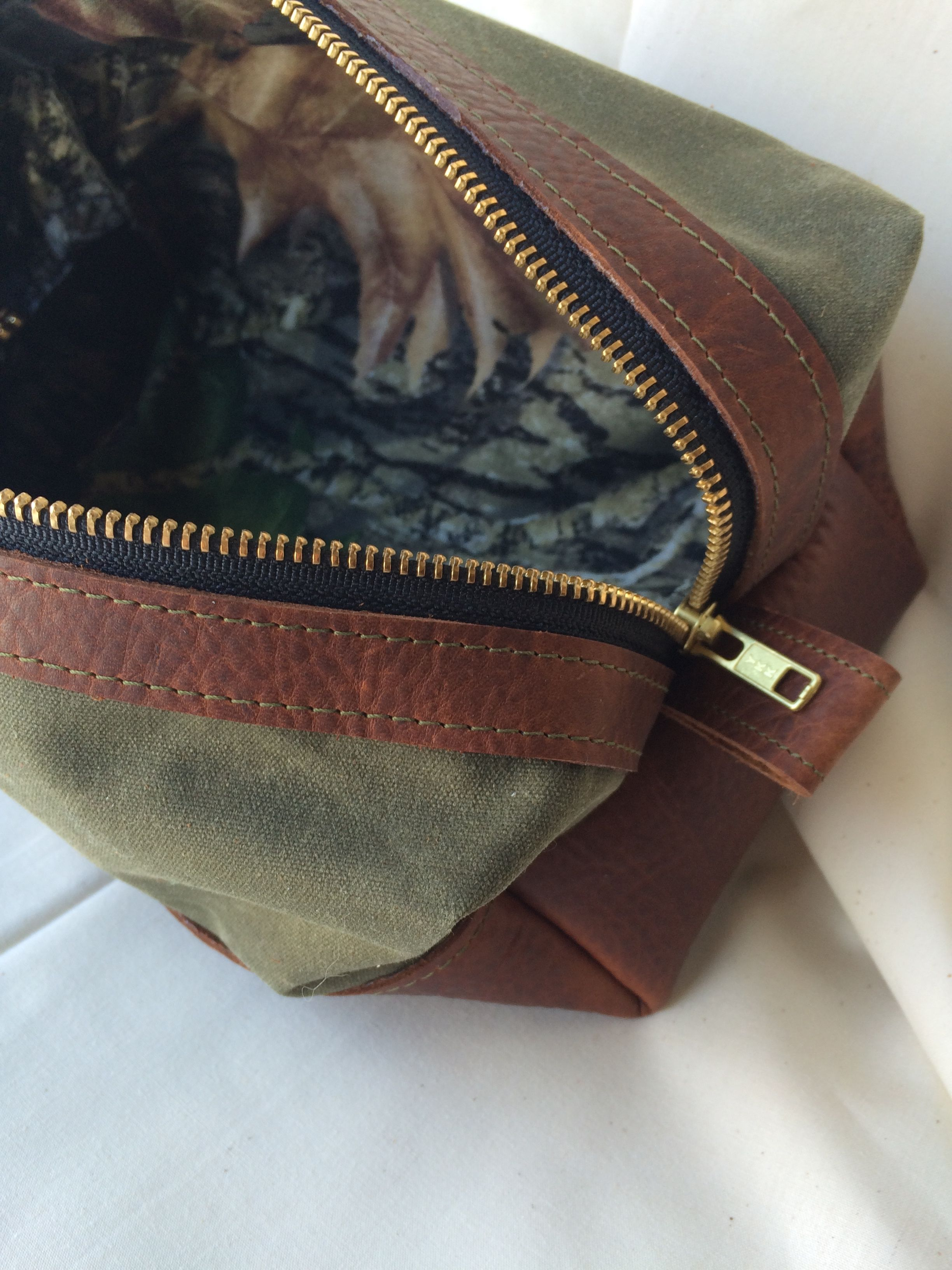 Handmade Leather and Waxed canvas Dopp bag toiletry bag with Camo Lining.  What a Great Fathers Day gift. 2dfe8555ea158