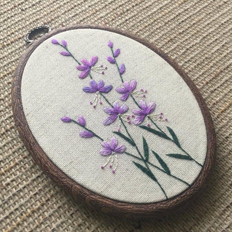 Purple Flowers Embroidery Hoop Art Hand Embroidered Botanical Etsy In 2020 Embroidery Flowers Embroidery Hoop Art Embroidery Stitches