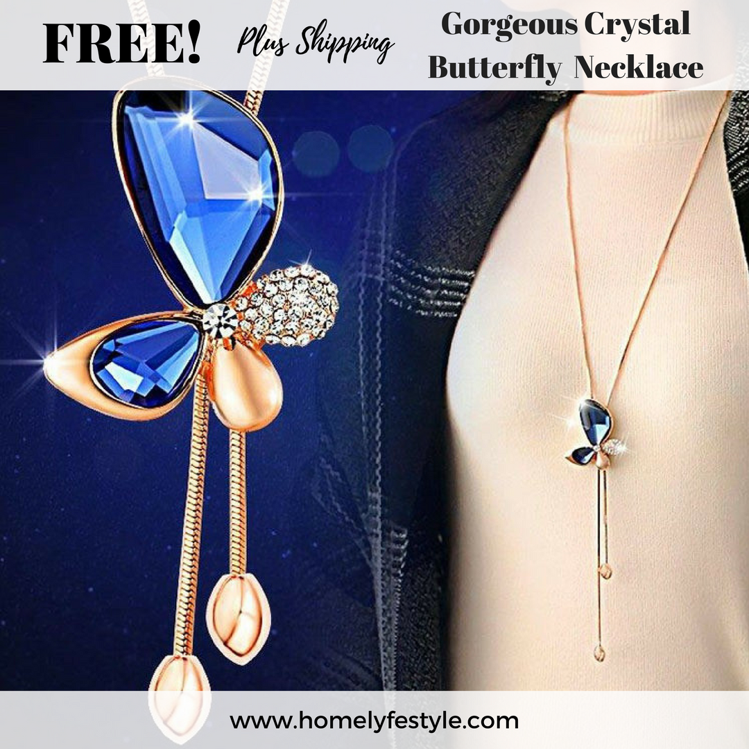 FREE! Plus Shipping Gorgeous Crystal Butterfly Tassel Necklace