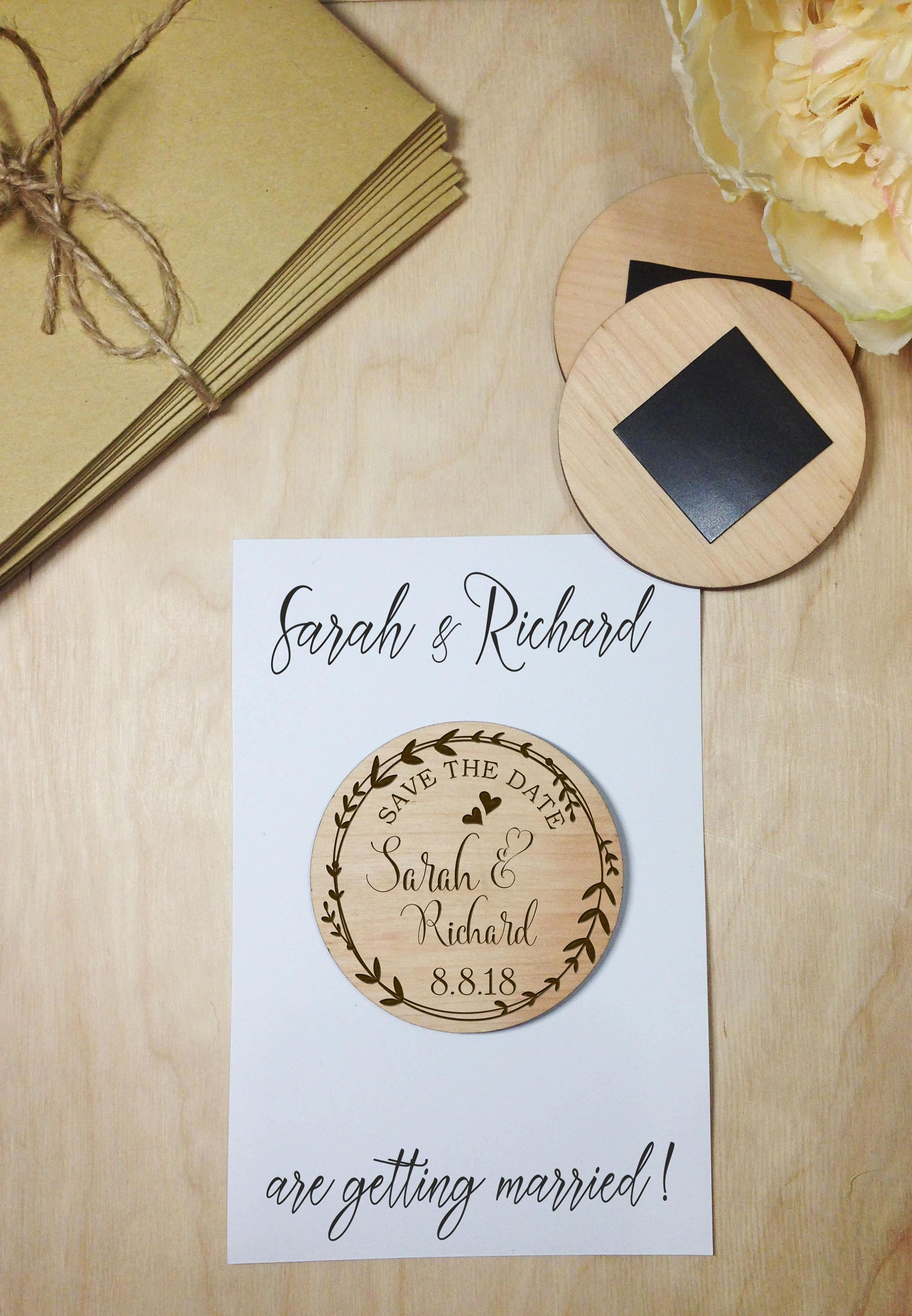 Save the Date magnets 10 pieces Wooden Engraved Rustic Save the Date ...