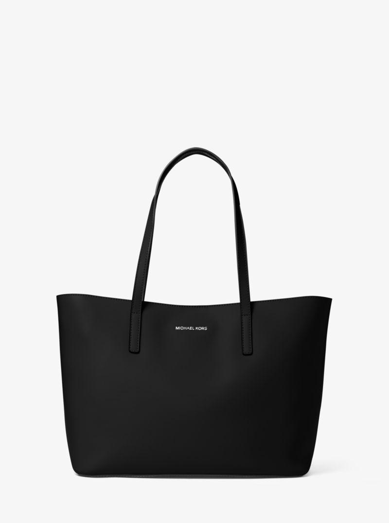 Michael Kors Emry Medium Leather Tote Bag Black 30t6se4t2lbk Leather Tote Bag Tote Bag Black Leather Tote Bag