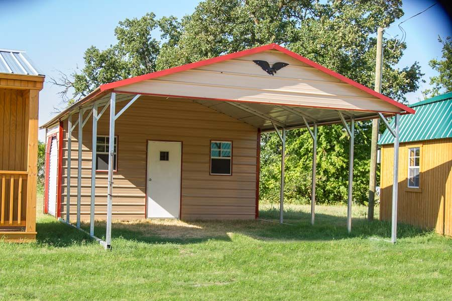 This is an Eagle Carport Combo in 18x30. The parking area