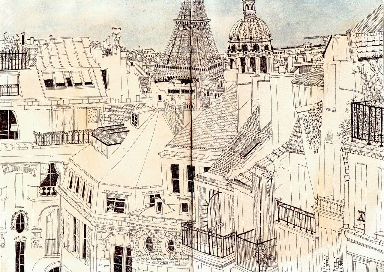 paris rooftops sketch samara hardy la belle france le sigh pinterest samara rooftops. Black Bedroom Furniture Sets. Home Design Ideas