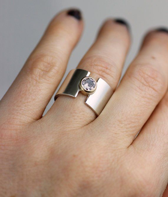 Contemporary Ring DOUBLE MOON Ring Unique Silver ring Silver Band Geometric Ring Eclipse Ring Diamond Textured Ring