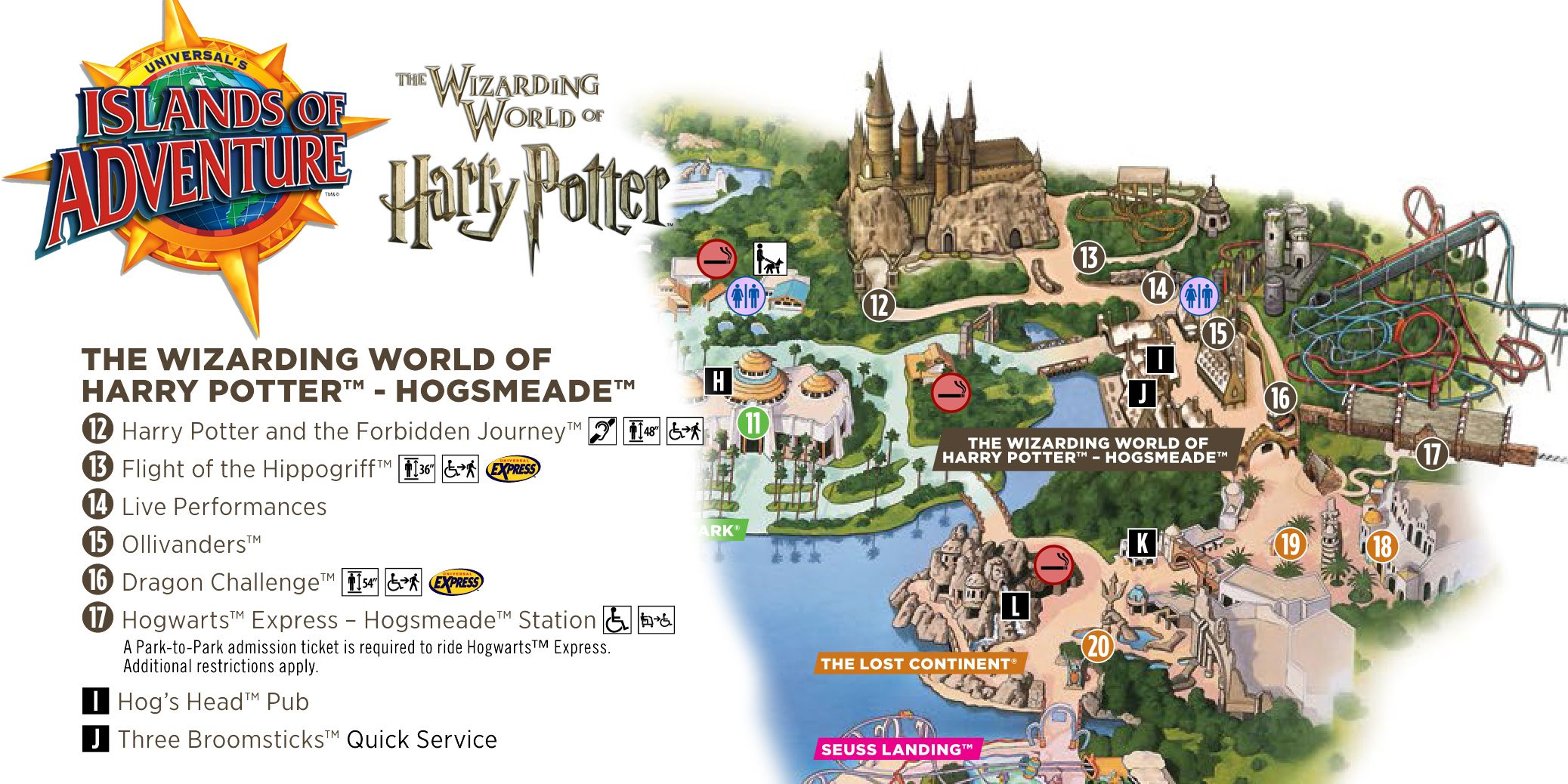 Universal S Islands Of Adventure Hogsmeade Map Theme Park Map Universal Islands Of Adventure Hogsmeade