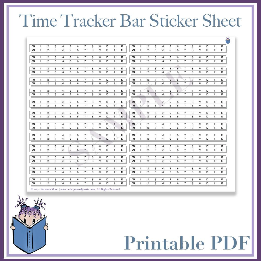 printable sticker doodles sheet planner bujo daily time tracker