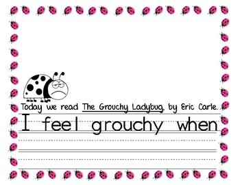 The Grouchy Ladybug Writing Response Grouchy Ladybug