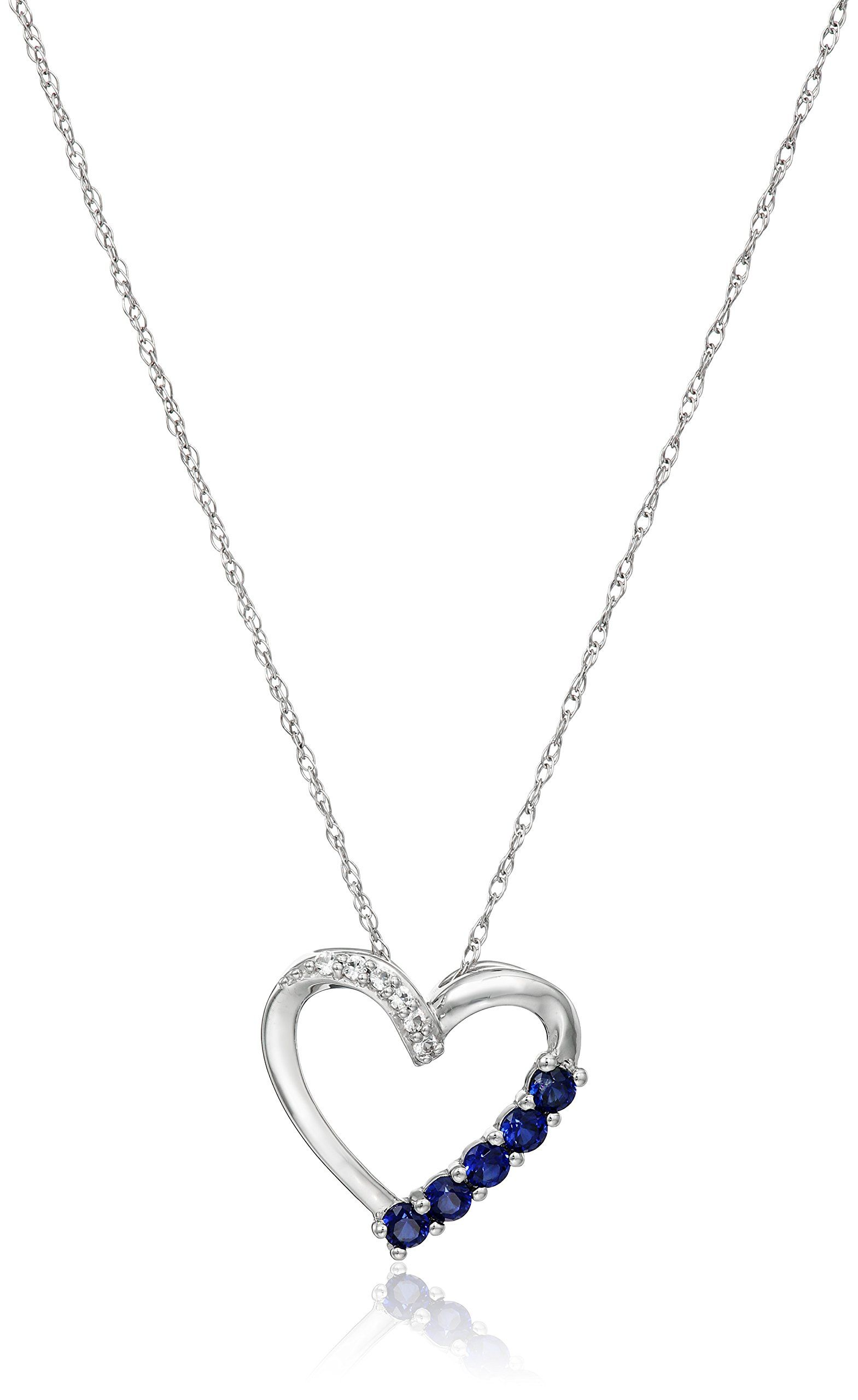 10k White Gold Heart with Created Sapphire and Created White